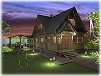 Проект рубленого дачного дома из сруба 6 на 6 «Дачник-15» с закрытой верандой