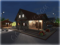 Проект жилого дачного дома из сруба 8 на 9 с мансардной крышей