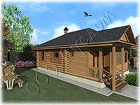 Проект одноэтажного дачного дома с верандой Дачник-18