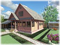 Проект дачного дома с каркасной мансардой Дачник-19 из сруба