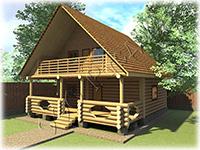 Проект дачного дома с рубленой верандой «Дачник-2» на базе сруба рубленого «в лапу»