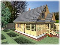 Проект классического дачного дома Дачник-20 с мансардой под двускатной кровлей