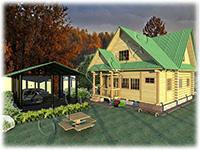 Проект дачного дома из сруба 5 на 7 Дачник-21 с Т-образной мансардой