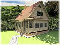 Проект деревянного дачного домика с верандой «Дачник-3» на базе сруба рубленого «в лапу»