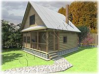 Проект дачного дома «Дачник-4» на базе сруба с выпусками под крыльцо и веранду