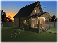 Проект дачного дома «Дачник-5», аналог проекта деревянного дома  «Дергаево», но с каркасным вторым этажом