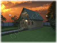 Проект дачного дома с верандой и балконом Дачник-6, на базе сруба 6 на 6 рубленого «в лапу»