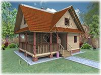 Проект дачного дома из бревна с мансардой  Дачник-7
