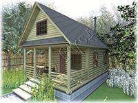Проект дачного дома «Дачник-9», на базе сруба 5.50 на 6.50, с выпусками под веранду