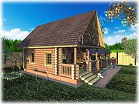 Проект дачного домика из бревна Охотник-3