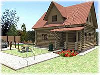 Проект дачного деревянного дома «Слободка» с рубленым крыльцом разработан на базе сруба 7 на 9