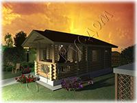 Проект одноэтажного дачного дома «Теремок» очень удобен для небольшой семьи из 3-4 человек. Можно использовать как гостевой домик
