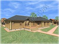 Проект комплекса из деревянного одноэтажного дома и рубленой бани Бажен под общей крышей