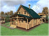 Деревянный полутороэтажный дом для постоянного проживания, Проект деревянного дома из бревна с открытой верандой «Дергаево»
