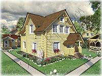 Проект деревянного дома «Добрыня» из сруба ручной рубки 8 на 8, с большой открытой верандой, большими спальнями, кабинетом и залом