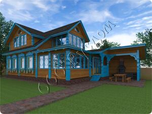 Проект деревянного дома для отдыха «Артем» из бревна - 190 кв.м