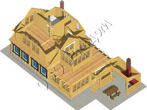 Вид второго этажа деревянного дома отдыха «Артем»