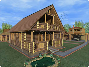 Деревянный полутороэтажный дом с террасой и рубленым балконом из сруба 7 на 8 «Легенда-2»