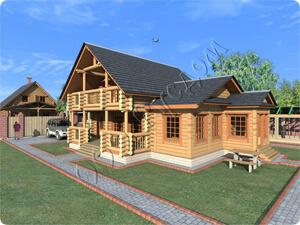 Проект деревянного дома с рубленой террасой и балконом Легенда