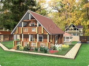 Проект деревянного дома с камином и террасой Любава-3