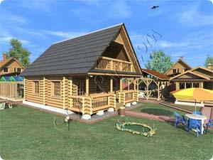 Проект деревянного дома «Любава» с каминным залом, двумя спальнями для хозяев и одной гостевой комнатой на первом этаже