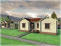 Проект деревянного одноэтажного дома «Метелица-1» с каминным залом, тремя спальнями для хозяев и топочной