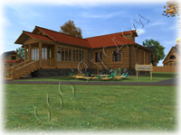 Проект одноэтажного рубленного дома с огромной летней верандой
