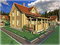 Деревянный полутороэтажный дом с большой рубленой верандой Светлана