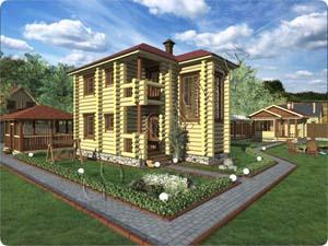 Деревянный двухэтажный частный домик с эркером Терем-2